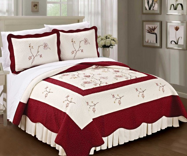 Burgundy Classic Embroidered Quilt Bed Spread