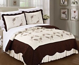 Chocolate Brown Embroidered Quilt Bed Spread