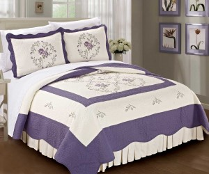 Lilac Embroidered Quilted Bed Spread Cover Sets