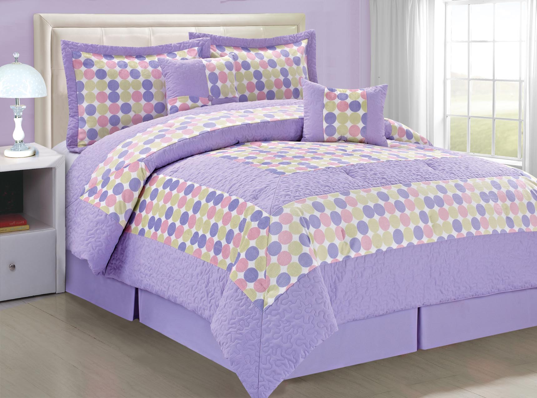 Lilac Big Dots Comforter Bedding Bed Set