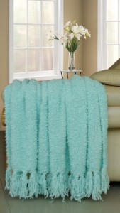 Blue Knitted Fluffy throw Blanket