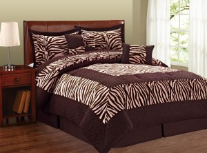 Brown Light Pink Zebra Print Comforter Bed Set