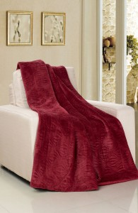 Burgundy Red Embroidered Flannel Throw Blanket