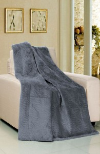 Silver Blue Embroidered Flannel Throw Blanket