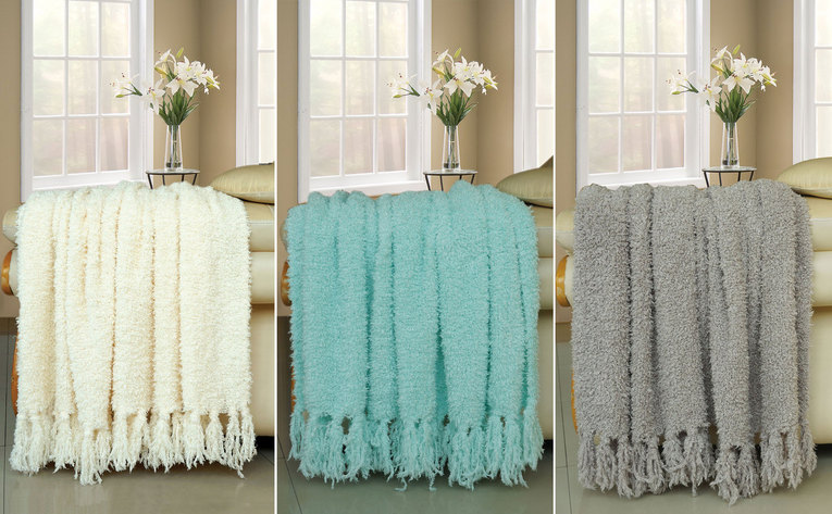 Fluffy Knitted Woven Throw Blanket