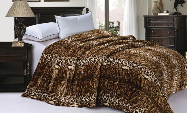 Queen Natural Leopard Faux Fur Blanket