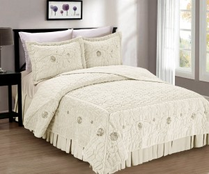 Elegant Ivory Faux Fur Bed Spread 3 Piece Set