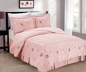 Elegant Pink Faux Fur Bed Spread 3 Piece Set