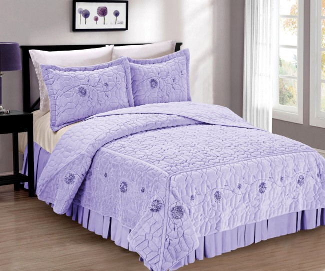 Elegant Violet Faux Fur Bed Spread 3 Piece Set