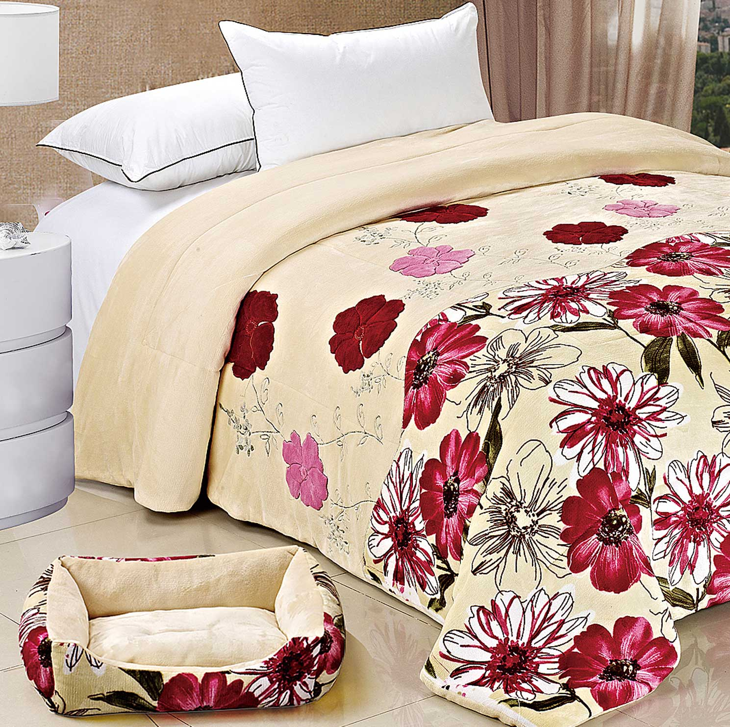 Matching Dog Bed & Bedspread Set
