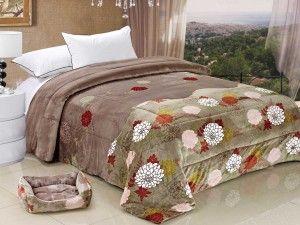 Flannel Double Microfiber Filled Blanket Printed and Applique Brown