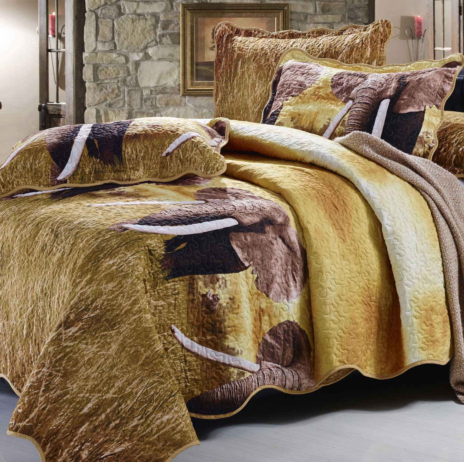 Safari Elephants in High-Definition on your Bed. Complete Bedding Set!