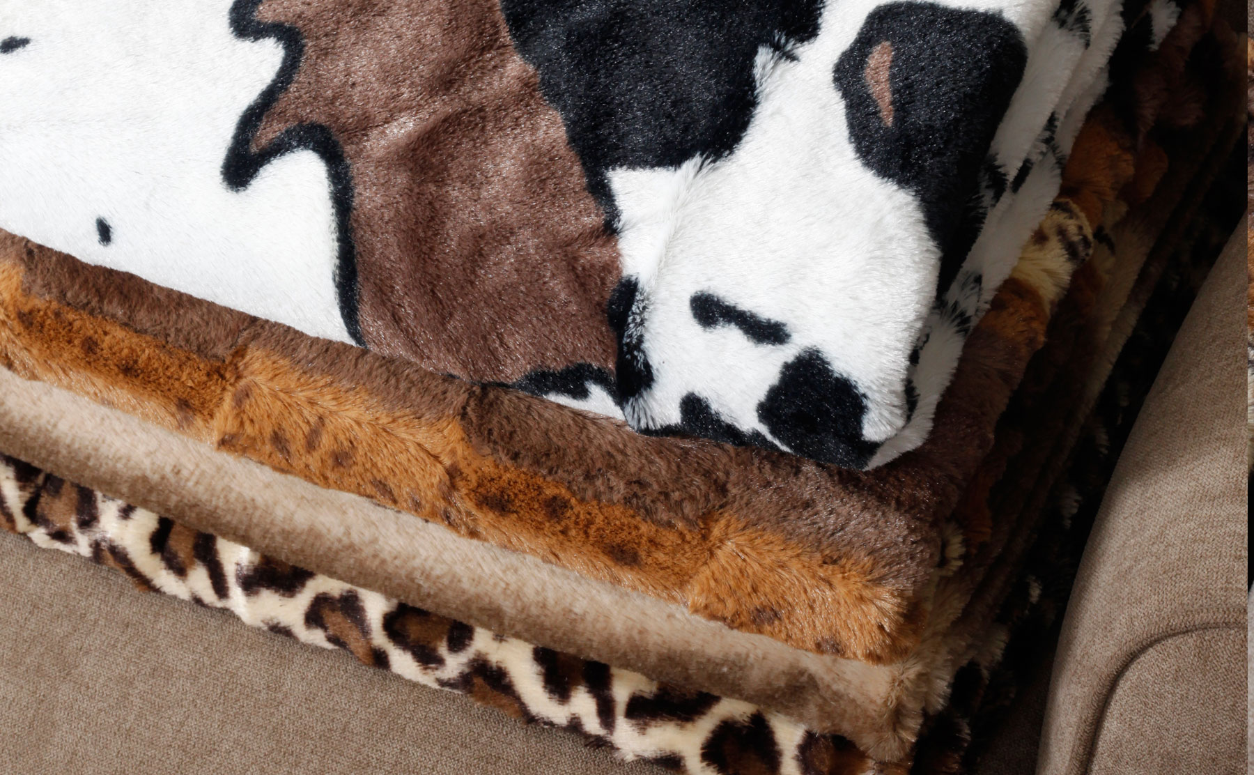 Double Sided Animal Print Faux Fur Throws