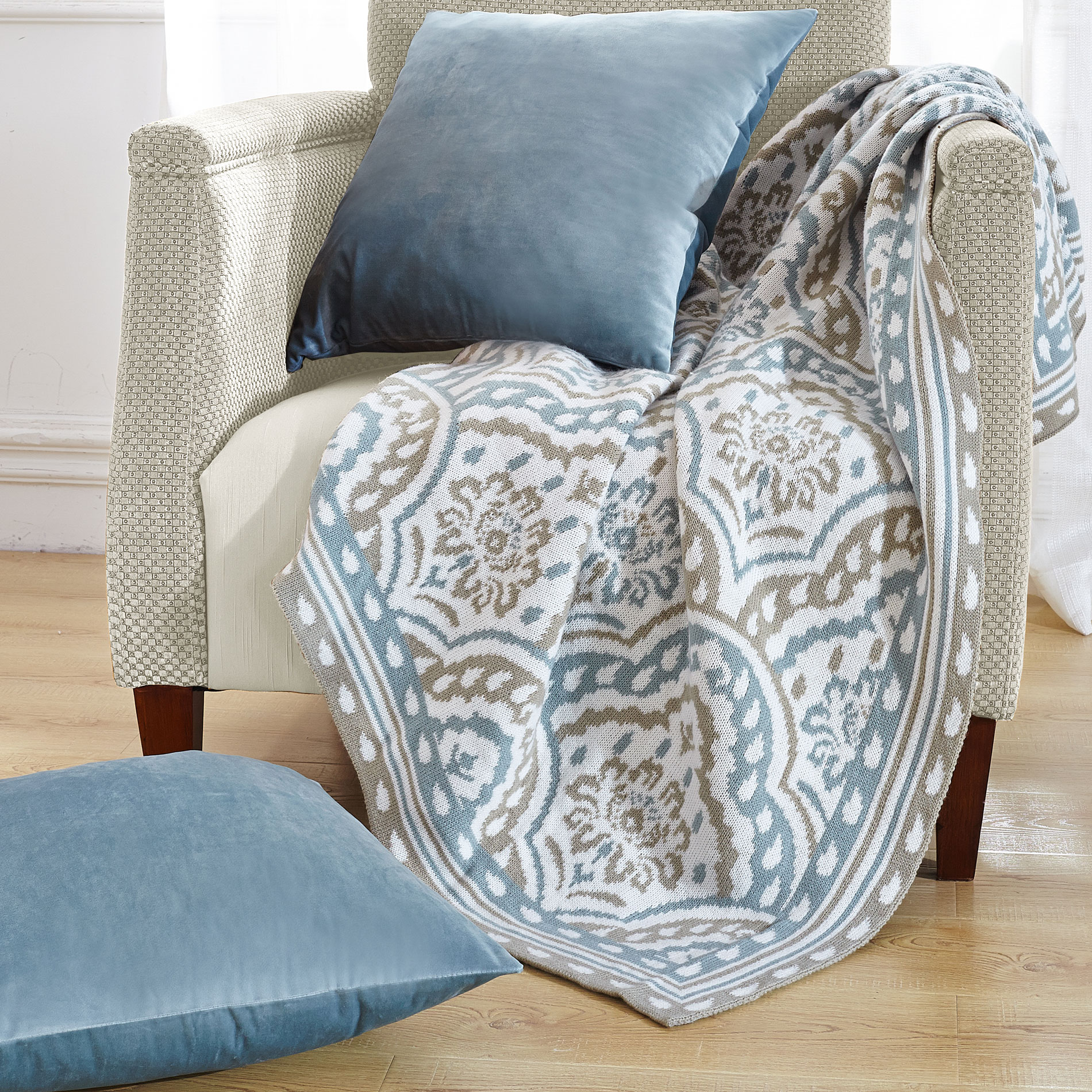 3 Piece Throw Blanket and Throw Pillow Shell Sets - Blissful Comforts