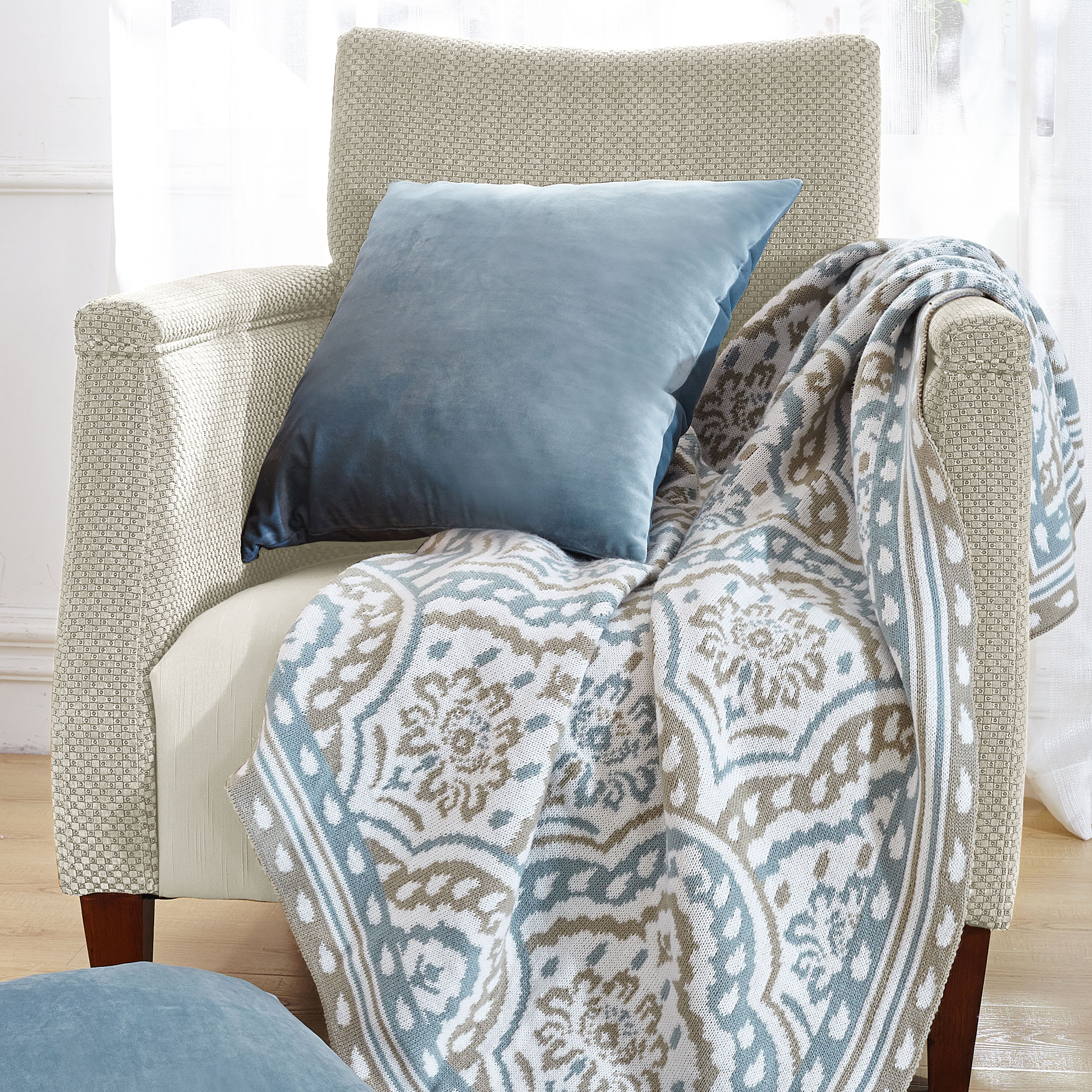 3 Piece Throw Blanket and Throw Pillow Shell Sets